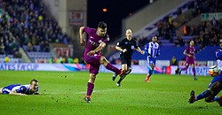 WIGAN, ENGLAND - Monday, February 19, 2018: Manchester City's Sergio Aguero during the FA Cup 5th Round match between Wigan Athletic FC and Manchester City FC at the DW Stadium. (Pic by David Rawcliffe/Propaganda)