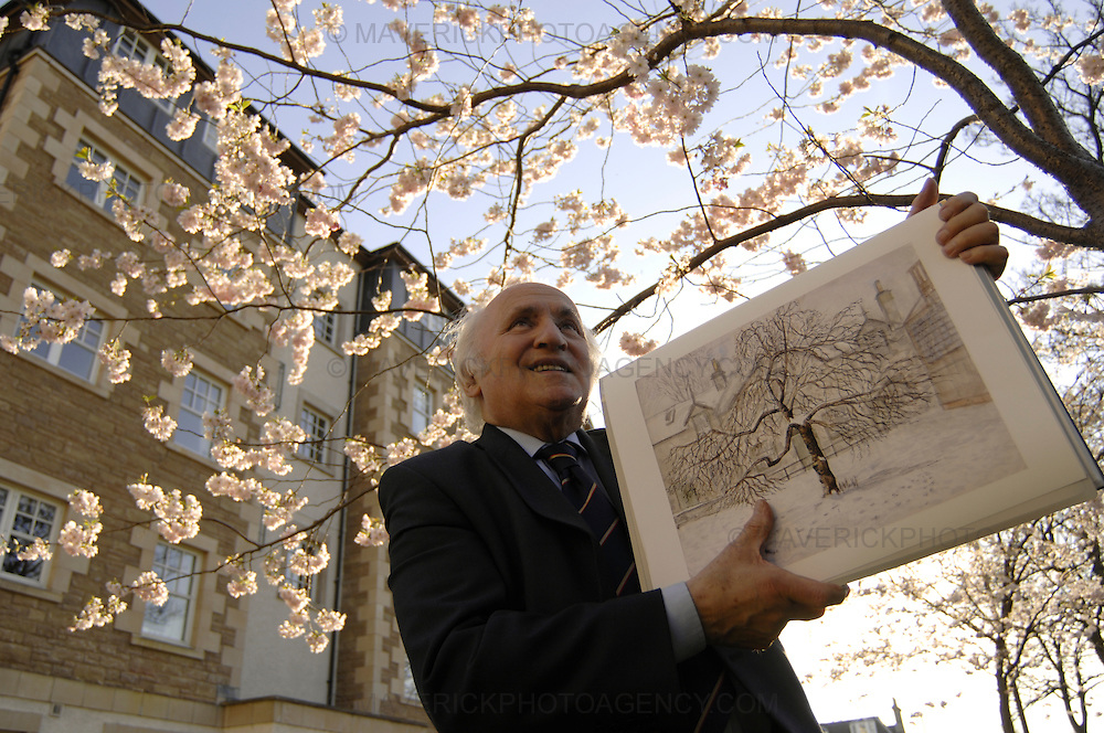 Richard Demarco is to sell limited edition prints of paintings he created while he attended his former school Holy Cross Academy.  The school was demolished to make way for new homes in the 1960's but former pupils will be celebrating its 100th anniversary.  Pictured Richard with his picture of the old blossom tree under a more recently planted one.