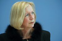 21 FEB 2013, BERLIN/GERMANY:<br /> Johanna Wanka, CDU, Bundesministerin fuer Bildung und Forschung, wahrend einer Pressekonferenz, Bundespressekonferenz<br /> IMAGE: 20130221-01-008