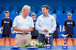 (L) Gerry Armstrong, ATP Supervisor and Vanja Bozickovic, tournament director during flower ceremony after final of doubles at 25th Vegeta Croatia Open Umag, on July 27, 2014, in Stella Maris, Umag, Croatia. Photo by Urban Urbanc / Sportida
