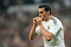 MADRID, SPAIN - Sunday, March 28, 2010: Real Madrid Club de Futbol's Alvaro Arbeloa celebrates scoring a goal against Club Atletico de Madrid during the La Liga Primera Division Madrid Derby match at the Estadio Santiago Bernabeu. (Pic by Hoch Zwei/Sprimont Press/Propaganda)