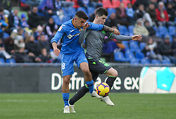 December 15, 2018 - Getafe, Madrid, Spain - Arambarri of Getafe and Zubeldia of Real Sociedad in action during La Liga Spanish championship, , football match between Getafe and Real Sociedad, December 15, in Coliseum Alfonso Perez in Getafe, Madrid, Spain. (Credit Image: © AFP7 via ZUMA Wire)