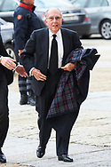 Marcelino Oreja attend Mass commemorating the 25th anniversary of the death of His Royal Highness the Count of Barcelona Juan of Borbon at Royal Monastery of San Lorenzo de El Escorialon April 3, 2018 in El Escorial, Spain