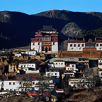 "ZHONGDIAN COUNTY, DECEMBER 19, 2000: a view of Songzanlin monastery, Yunnan province , December 19, 2000..Zhoudian county is believed to be part of the areas on which James Hilton's famous novel "" lost Horizon""- a description of Shangri-La- is modeled.. ."