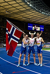 August 10, 2018 - Berlin, GERMANY - 180810 Jakob Ingebrigtsen celebrates with his brothers Henrik Ingebrigtsen and Filip Ingebrigtsen of Norway  after the 1500 meter final during the European Athletics Championships on August 10, 2018 in Berlin..Photo: Vegard Wivestad GrÂ¿tt / BILDBYRN / kod VG / 170201 (Credit Image: © Vegard Wivestad Gr¯Tt/Bildbyran via ZUMA Press)