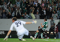 20120329: LISBON, PORTUGAL - Football - UEFA Europe League 2011/2012 - Quarter-finals, First leg: Sporting CP vs Metalist<br /> In picture: Sporting's Emiliano Insua, from Argentine, reacts after score the 2nd goal.<br /> PHOTO: Alvaro Isidoro/CITYFILES