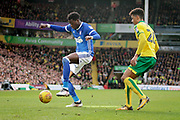 Ipswich Town defender Dominic Iorfa (2) shields the ball from Norwich City defender Jamal Lewis (26) during the EFL Sky Bet Championship match between Norwich City and Ipswich Town at Carrow Road, Norwich, England on 18 February 2018. Picture by Nigel Cole.