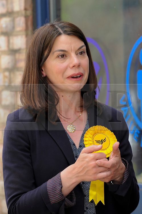 © Licensed to London News Pictures. 01/06/2017. London, UK.  Sarah Olney awaits the arrival of Liberal Democrat Leader Tim Farron and LibDem Brexit Spokesman Nick Clegg to visit hospital staff at Kingston Hospital and local voters at the nearby Shiraz Mirza Community Centre.  Photo credit : Stephen Chung/LNP
