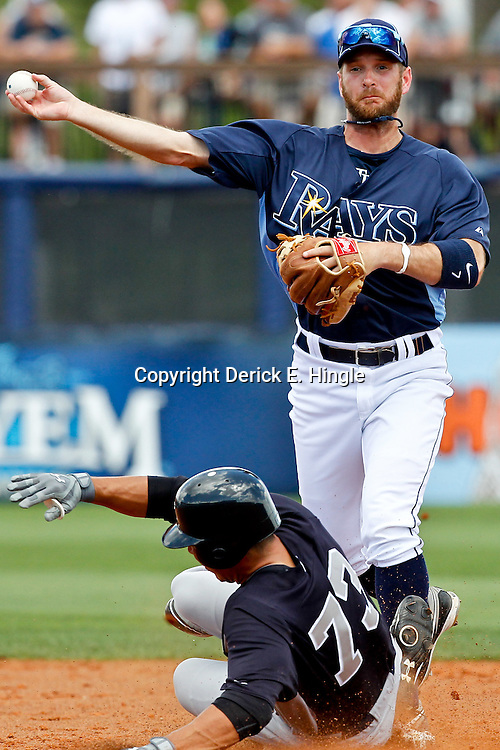 March 21, 2012; Port Charlotte, FL, USA; Tampa Bay Rays second baseman Jeff Keppinger (7) turns a double play as New York Yankees right fielder Cole Garner (73) is forced out during the top of the third inning of a spring training game at Charlotte Sports Park.  Mandatory Credit: Derick E. Hingle-US PRESSWIRE