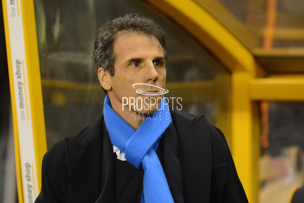 Birmingham City manager Gianfranco Zola during the EFL Sky Bet Championship match between Wolverhampton Wanderers and Birmingham City at Molineux, Wolverhampton, England on 24 February 2017. Photo by Alan Franklin.