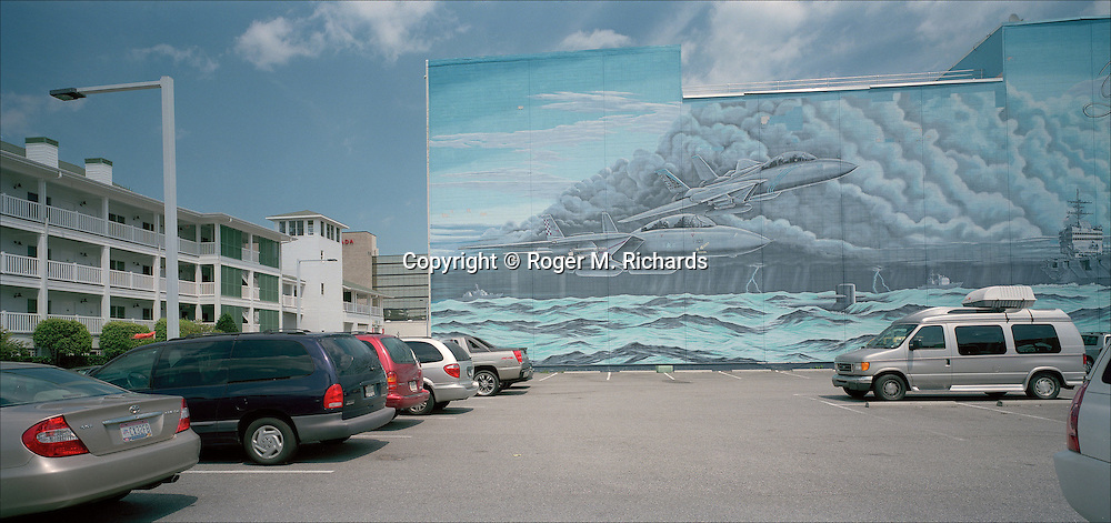 Mural on a hotel wall, Virginia Beach. Photograph by Roger M. Richards