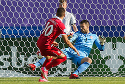 June 20, 2017 - Bydgoszcz, Poland - Mijat Gacinovic (SRB)  gol bramka goal, Igor Aleksovski (MKD) during the UEFA European Under-21 Championship Group C match between Czech Republic and Italy at Tychy Stadium on June 21, 2017 in Tychy, Poland. (Credit Image: © Foto Olimpik/NurPhoto via ZUMA Press)