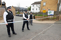 © Licensed to London News Pictures. 28/03/2019. West Norwood,UK. A teenager has been shot dead on the Hainthorpe Estate, West Norwood,London. Police guard cordons around the estate.  Photo credit: Grant Falvey/LNP
