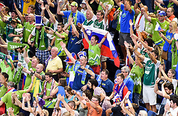 Supporters of Slovenia celebrate after winning during basketball match between National Teams of Slovenia and Spain at Day 15 in Semifinal of the FIBA EuroBasket 2017 at Sinan Erdem Dome in Istanbul, Turkey on September 14, 2017. Photo by Vid Ponikvar / Sportida