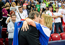 Laurent Tillie, head coach of France kissing his wife after winning during volleyball match between National teams of Slovenia and France at Final match of 2015 CEV Volleyball European Championship - Men, on October 18, 2015 in Arena Armeec, Sofia, Bulgaria. Photo by Vid Ponikvar / Sportida