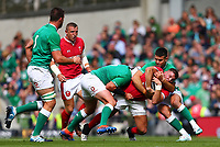 Rugby Union - 2019 pre-Rugby World Cup warm-up (Guinness Summer Series) - Ireland vs. Wales<br /> <br /> Elliot Dee (Wales) in action against Rory Best (c) (Ireland) and Conor Murray (Ireland) at The Aviva Stadium.<br /> <br /> COLORSPORT/KEN SUTTON