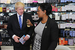 ©Licensed to London News Pictures 23/04/2015  London, UK. Mayor of London Boris Johnson on the electoral path again in Croydon ahead of the election in May. Pictured meeting the people of Croydon in the Whitgift Shopping Centre and in the North End shopping area. Photo credit: Presspics/LNP