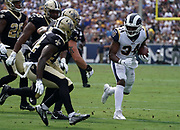 Los Angeles Rams running back Malcolm Brown (34) runs with the ball during an NFL football game against the New Orleans Saints, Sunday, Sept. 15, 2019, in Los Angeles. The Rams defeated the Saints 27-9. (Dylan Stewart/Image of Sport)