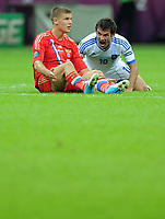 Fotball<br /> EM 2012<br /> 16.06.2012<br /> Hellas v Russland<br /> Foto: Witters/Digitalsport<br /> NORWAY ONLY<br /> <br /> v.l. Igor Denisov (Igor Denissow, Russland), Giorgios Karagounis (Griechenland)<br /> Fussball EURO 2012, Vorrunde, Gruppe A, Griechenland - Russland 1:0