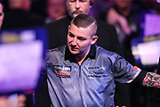 Nathan Aspinall during the walk-on during the World Darts Championships 2018 at Alexandra Palace, London, United Kingdom on 30 December 2018.