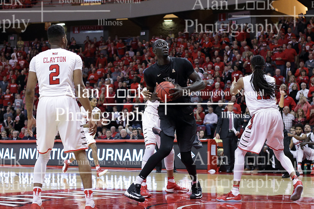 20 March 2017:  Tacko Fall during a College NIT (National Invitational Tournament) 2nd round mens basketball game between the UCF (University of Central Florida) Knights and Illinois State Redbirds in  Redbird Arena, Normal IL