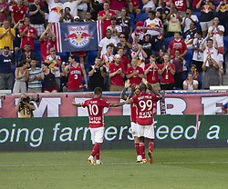August 5, 2018 - Harrison, New Jersey, United States - Daniel Royer, Bradley Wright-Phillips, Alejandro Romero Gamarra Kaku of Red Bulls celebrate goal scored by Royer during regular MLS game against LAFC at Red Bull Arena Red Bulls won 2 - 1  (Credit Image: © Lev Radin/Pacific Press via ZUMA Wire)