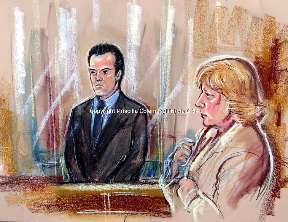 ©PRISCILLA COLEMAN ITV NEWS 19.12.02.SUPPLIED BY: PHOTONEWS SERVICE LTD OLD BAILEY.PIC SHOWS: STUART CAMPBELL, UNCLE OF DANIELLE JONES, STANDING IN THE DOCK AS THE VERDICT IN HIS CASE IS READ. LINDA JONES, MOTHER OF DANIELLE JONES IS SITTING (RIGHT). STUART CAMPBELL WAS FOUND GUILTY OF THE MURDER OF DANIELLE JONES TODAY AT CHELMSFORD CROWN COURT-SEE STORY.ILLUSTRATION: PRISCILLA COLEMAN ITV NEWS.