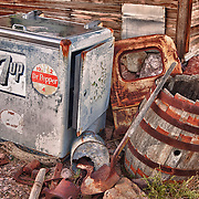 Vintage 7up Dr Pepper Cooler Among Rusting Artifacts - Eldorado Canyon - Nelson NV - HDR