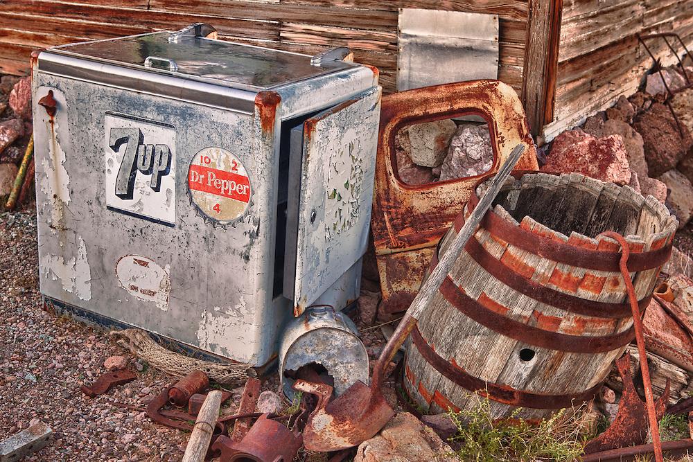 Vintage 7up Dr Pepper Cooler Among Rusting Artifacts - Eldorado Canyon - Nelson NV - HDR