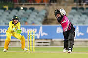 Katey Martin plays a lofted drive. Women's T20 international Cricket, Australia v New Zealand White Ferns.  Manuka Oval, Canberra, 5 October 2018. Copyright Image: David Neilson / www.photosport.nz
