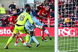 Milan Djuric of Bristol City scores a goal past Richard O'Donnell of Rotherham United to make it 1- - Rogan Thomson/JMP - 04/02/2017 - FOOTBALL - Ashton Gate Stadium - Bristol, England - Bristol City v Rotherham United - Sky Bet Championship.