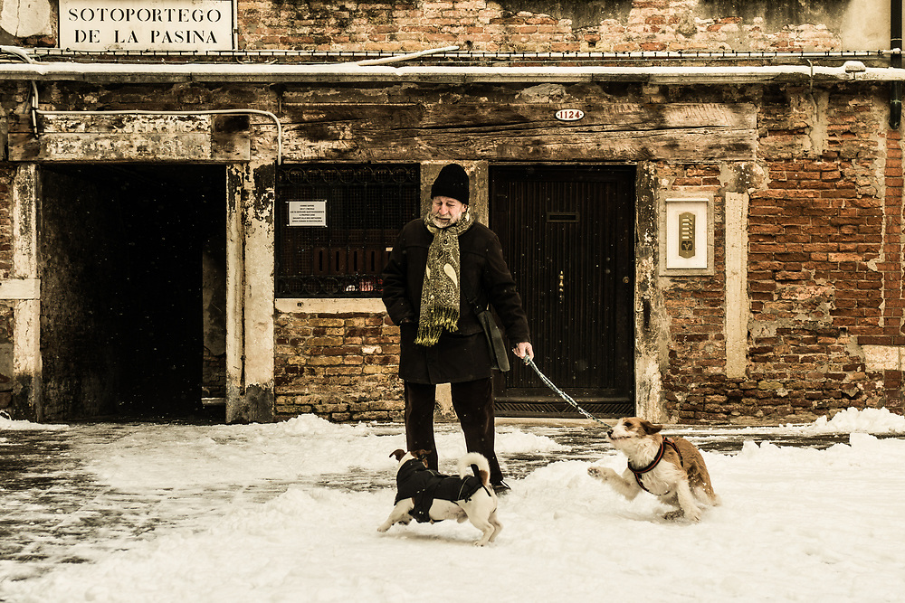 VENICE, ITALY - 28th FEBRUARY/01st MARCH 2018<br /> Dogs play in the snow after a snowfall in Venice, Italy. A blast of freezing weather called the &ldquo;Beast from the East&rdquo; has gripped most of Europe in the middle of winter of 2018, and in Venice A snowfall has covered the city with white, making it fascinating and poetic for citizen and tourists.   &copy; Simone Padovani / Awakening