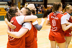 3rd placed Players of RK Celje celebrate after the handball match between RK Krim Mercator and ZRK Z'Dezele Celje in Last Round of Slovenian National Championship 2016/17, on April 18, 2017 in Arena Galjevica, Ljubljana, Slovenia. Photo by Vid Ponikvar / Sportida