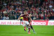 04.09.2015. Copenhagen, Denmark. <br /> Nicklas Bendtner (L) of Denmark fights for the ball with Arlind Ajeti (R) of Albania during their UEFA European Champions qualifying round match at the Parken Stadium. <br /> Photo: © Ricardo Ramirez.
