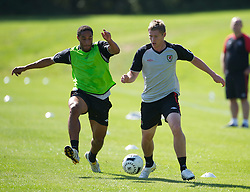 31.08.2010, Vale of Glamorgan Hotel, Cardiff, WAL, Training Nationalmannschaft Wales, im Bild Wales' Ashley Williams and Simon Church during training, EXPA Pictures © 2010, PhotoCredit: EXPA/ Propaganda/ D. Rawcliffe *** ATTENTION *** UK OUT! / SPORTIDA PHOTO AGENCY