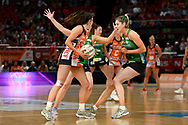 SYDNEY, AUSTRALIA - AUGUST 24: Amy Parmenter of the Giants looks to pass the ball during the round 14 Super Netball match between the Giants and the West Coast Fever at Qudos Bank Arena on August 24, 2019 in Sydney, Australia.(Photo by Speed Media/Icon Sportswire)