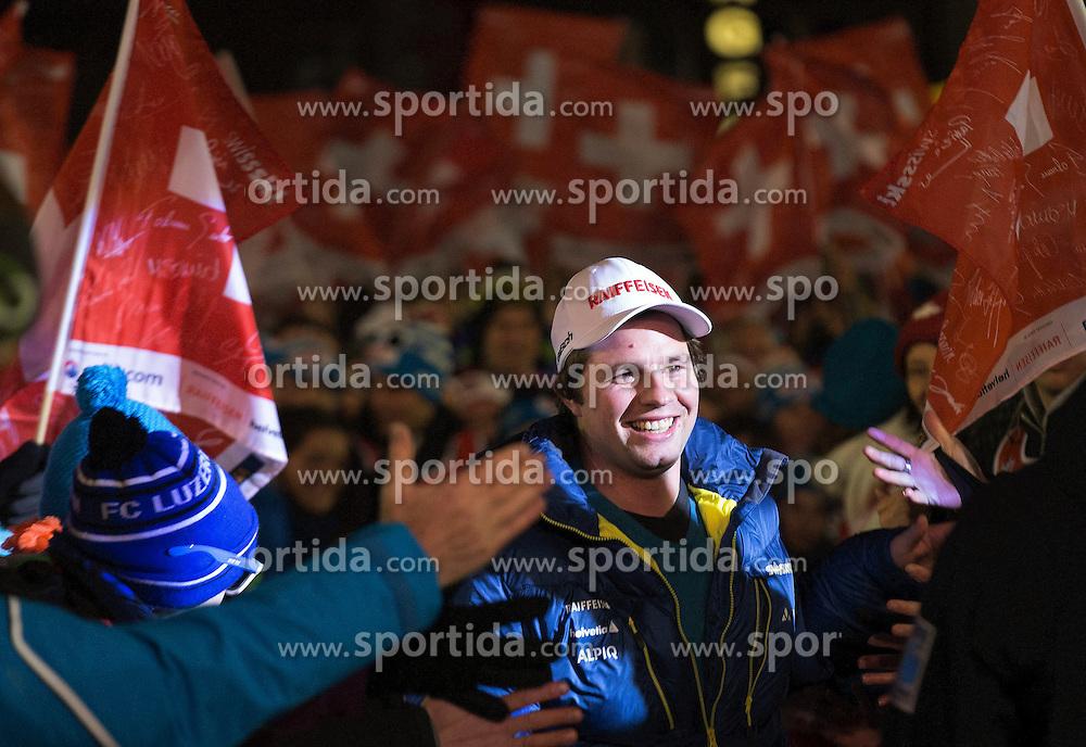 17.01.2014, Lauberhorn, Wengen, SUI, FIS Weltcup Ski Alpin, Wengen, Abfahrt, Herren, Startnummernauslosung, im Bild Beat Feuz (SUI) // during bib draw for the downhill of the Wengen FIS Ski Alpine World Cup at the Lauberhorn in Wengen, Switzerland on 2014/01/17. EXPA Pictures &copy; 2014, PhotoCredit: EXPA/ Freshfocus/ Christian Pfander<br /> <br /> *****ATTENTION - for AUT, SLO, CRO, SRB, BIH, MAZ only*****