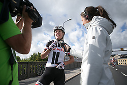 Ellen van Dijk (NED) of Team Sunweb talks about the final laps on TV after Stage 3 of the Ladies Tour of Norway - a 156.6 km road race, between Svinesund (SE) and Halden on August 20, 2017, in Ostfold, Norway. (Photo by Balint Hamvas/Velofocus.com)