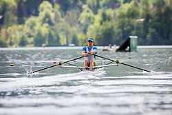Jalen Ales of Slovenia competes during semi finals of Rowing World Cup on May 9, 2015, at Bled's lake, Bled, Slovenia. (Photo by Grega Valancic / Sportida)