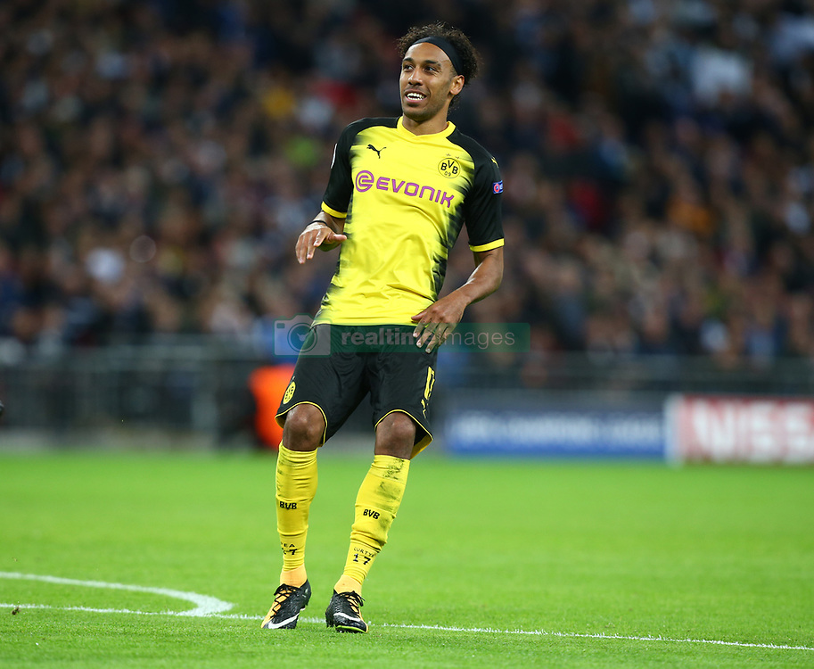 September 13, 2017 - London, England, United Kingdom - Pierre-Emerick Aubameyang of Borussia Dortmund.during Champion League Group H match between Tottenham Hotspur  against Borussia Dortmund at Wembley stadium, London, UK on 13 Sepember  2017. Tottenham won the game 3-1. (Credit Image: © Kieran Galvin/NurPhoto via ZUMA Press)