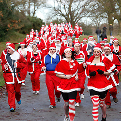 © Licensed to London News Pictures. 2/12/2012. Sutton Coldfield, West Midlands, UK. The third Sutton Park Santa run took part today to raise money for UK Diabetes. Over 200 santa clad runners raced through the park on the outskirsts of Birmingham earlier today. The race was split into two, one race for serious runners, another for young and the not so young. Photo credit : Dave Warren/LNP