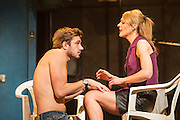 16/04/2013. Celebrating its twentieth anniversary year, and returning to the West End for limited 6 week season, the award winning Beautiful Thing comes to the Arts Theatre, London Featuring Suranne Jones, Zaraah Abrahams, Oliver Farnworth, Jake Davis and Danny-Boy Hatchard. Picture shows Oliver Farnworth as Tony and Suranne Jones as Sandra.