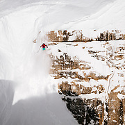 Lynsey Dyer drops into Corbet's Couloir.