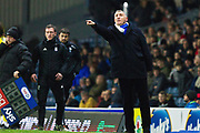 Blackburn Rovers manager Tony Mowbrayn give instructions to the players during the EFL Sky Bet Championship match between Blackburn Rovers and Birmingham City at Ewood Park, Blackburn, England on 26 December 2019.