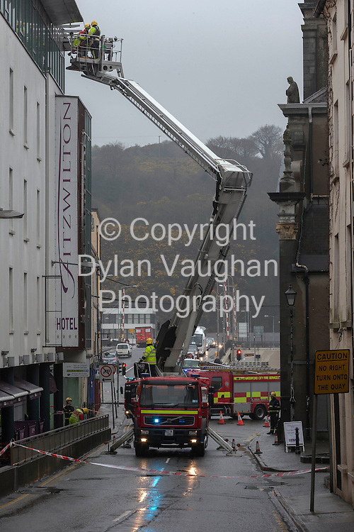 22/3/2013..Emergency services pictured at the scene where part of the roof collapsed at the Fitzwilton Hotel on Bridge Street in Waterford City....Picture Dylan Vaughan