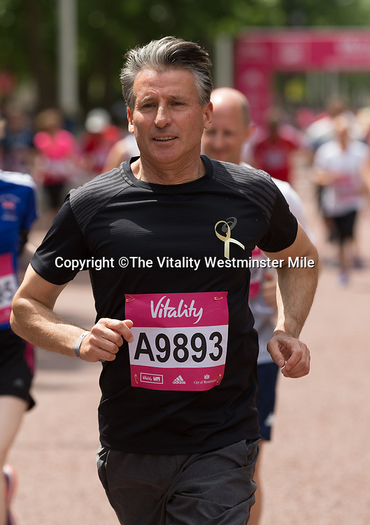 Seb Coe Running in the British Olympians Race at The Vitality Westminster Mile, Sunday 28th May 2017.<br /> <br /> Photo: Ben Queenborough for The Vitality Westminster Mile<br /> <br /> For further information: media@londonmarathonevents.co.uk