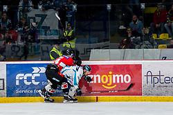 24.02.2019, Ice Rink, Znojmo, CZE, EBEL, HC Orli Znojmo vs EHC Liwest Black Wings Linz, Qualifikationsrunde, 49. Runde, im Bild v.l. Eric Nemec (HC Orli Znojmo) Kevin Kapstad (EHC Liwest Black Wings Linz) // during the Erste Bank Eishockey League 49th round match between HC Orli Znojmo and EHC Liwest Black Wings Linz at the Ice Rink in Znojmo, Czechia on 2019/02/24. EXPA Pictures © 2019, PhotoCredit: EXPA/ Rostislav Pfeffer