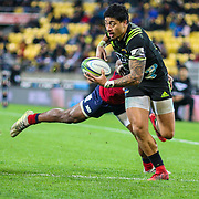 Ben Lam  runs with the ball during the Super rugby union game (Round 14) played between Hurricanes v Reds, on 18 May 2018, at Westpac Stadium, Wellington, New  Zealand.    Hurricanes won 38-34.
