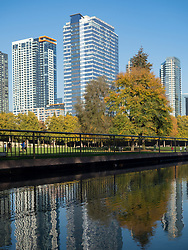 United States, Washington, Bellevue, skyscrapers and reflection in pool at Downtown Park