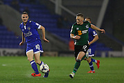 Kallum Mantack of Oldham Athletic passes the ball under pressure from Scunthorpe United midfielder Sam Mantom (17) during the EFL Sky Bet League 1 match between Oldham Athletic and Scunthorpe United at Boundary Park, Oldham, England on 18 October 2016. Photo by Simon Brady.